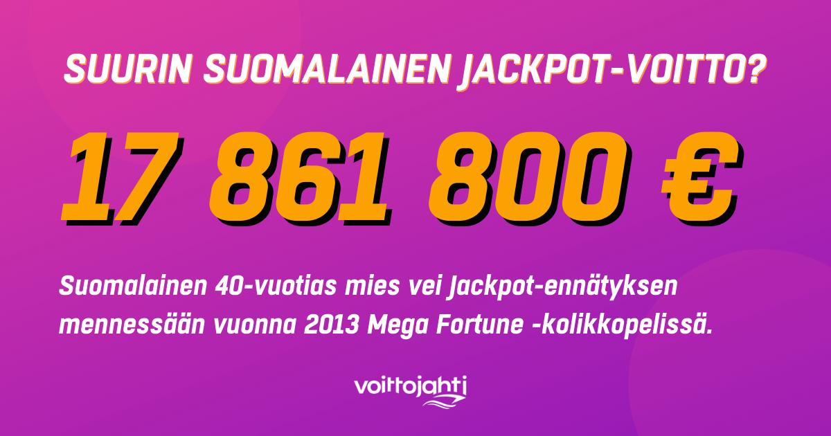 kuka on suurin suomalainen jackpot voittaja